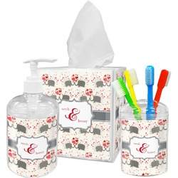 Elephants in Love Bathroom Accessories Set (Personalized)