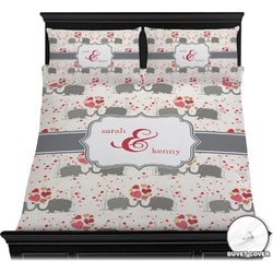 Elephants in Love Duvet Cover Set (Personalized)