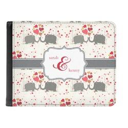 Elephants in Love Genuine Leather Men's Bi-fold Wallet (Personalized)