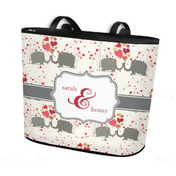Elephants in Love Bucket Tote w/ Genuine Leather Trim (Personalized)