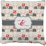 Elephants in Love Burlap Throw Pillow (Personalized)