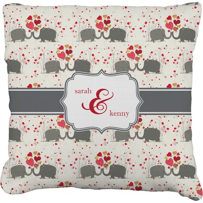 Elephants in Love Faux-Linen Throw Pillow (Personalized)