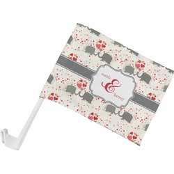 Elephants in Love Car Flag (Personalized)