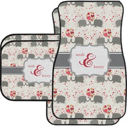 Elephants in Love Car Floor Mats (Personalized)