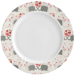 Elephants in Love Ceramic Dinner Plates (Set of 4) (Personalized)