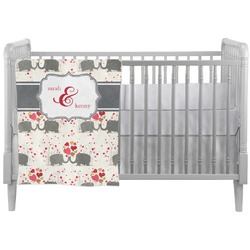 Elephants in Love Crib Comforter / Quilt (Personalized)
