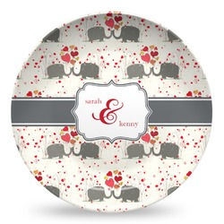 Elephants in Love Microwave Safe Plastic Plate - Composite Polymer (Personalized)