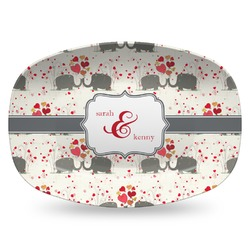 Elephants in Love Plastic Platter - Microwave & Oven Safe Composite Polymer (Personalized)