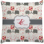 Elephants in Love Decorative Pillow Case (Personalized)