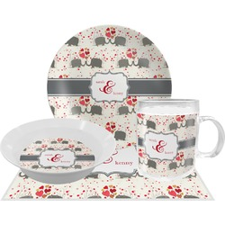 Elephants in Love Dinner Set - 4 Pc (Personalized)