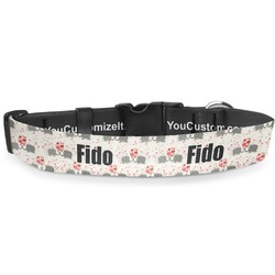 """Elephants in Love Deluxe Dog Collar - Extra Large (16"""" to 27"""") (Personalized)"""