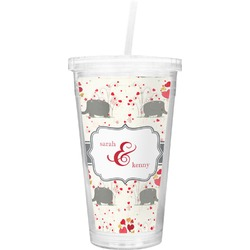 Elephants in Love Double Wall Tumbler with Straw (Personalized)