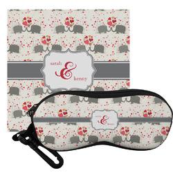 Elephants in Love Eyeglass Case & Cloth (Personalized)