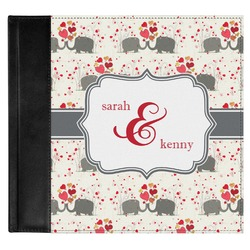 Elephants in Love Genuine Leather Baby Memory Book (Personalized)