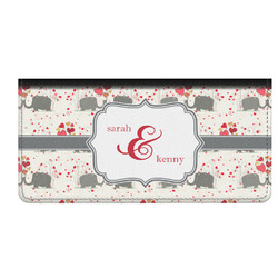 Elephants in Love Genuine Leather Checkbook Cover (Personalized)