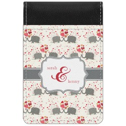 Elephants in Love Genuine Leather Small Memo Pad (Personalized)