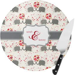Elephants in Love Round Glass Cutting Board (Personalized)