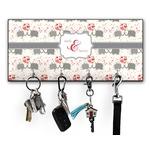 Elephants in Love Key Hanger w/ 4 Hooks (Personalized)