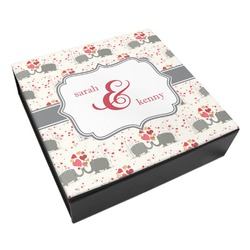 Elephants in Love Leatherette Keepsake Box - 3 Sizes (Personalized)