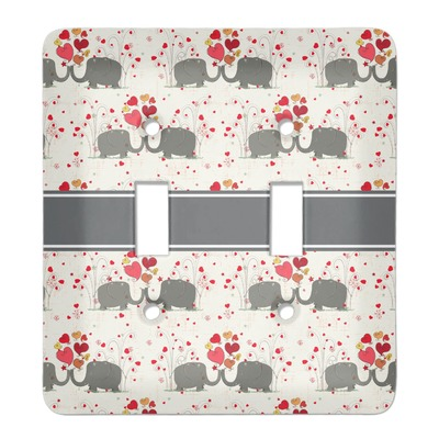Elephants in Love Light Switch Cover (2 Toggle Plate) (Personalized)