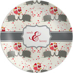 Elephants in Love Melamine Plate (Personalized)