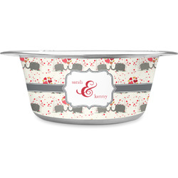Elephants in Love Stainless Steel Pet Bowl (Personalized)
