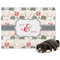 Elephants in Love Minky Dog Blanket - Large  (Personalized)