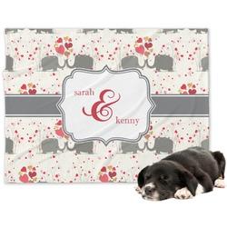 Elephants in Love Dog Blanket (Personalized)