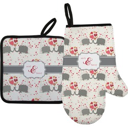 Elephants in Love Oven Mitt & Pot Holder (Personalized)