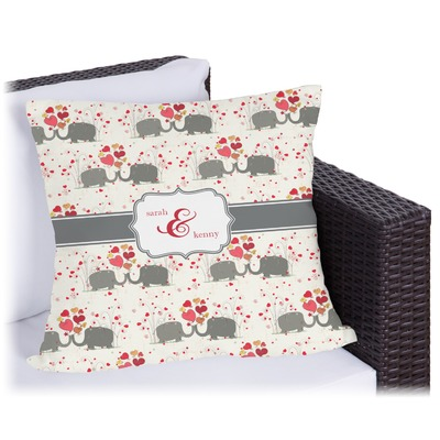 Elephants in Love Outdoor Pillow (Personalized)