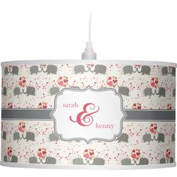 Elephants in Love Drum Pendant Lamp (Personalized)