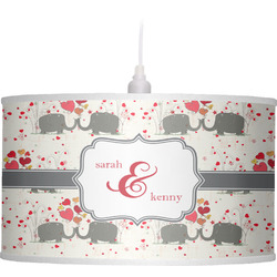 Elephants in Love Drum Pendant Lamp (Personalized)