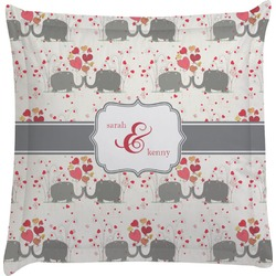 Elephants in Love Euro Sham Pillow Case (Personalized)