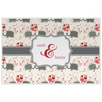 Elephants in Love Laminated Placemat w/ Couple's Names