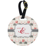 Elephants in Love Round Luggage Tag (Personalized)