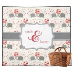 Elephants in Love Outdoor Picnic Blanket (Personalized)