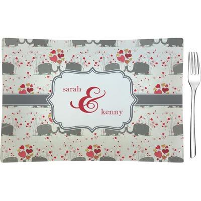 Elephants in Love Rectangular Glass Appetizer / Dessert Plate - Single or Set (Personalized)