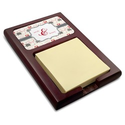 Elephants in Love Red Mahogany Sticky Note Holder (Personalized)