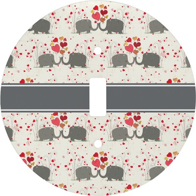 Elephants in Love Round Light Switch Cover (Personalized)