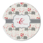 Elephants in Love Sandstone Car Coasters (Personalized)