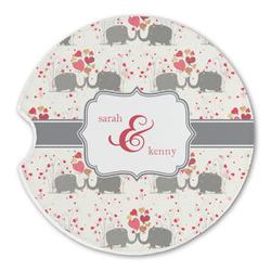 Elephants in Love Sandstone Car Coasters (Personalized)