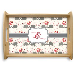 Elephants in Love Natural Wooden Tray (Personalized)