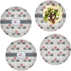 """Elephants in Love Set of 4 Glass Lunch / Dinner Plate 10"""" (Personalized)"""