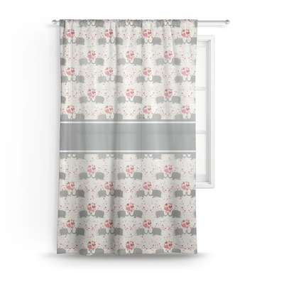 Elephants in Love Sheer Curtains (Personalized)
