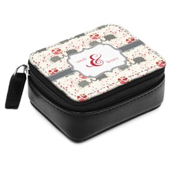 Elephants in Love Small Leatherette Travel Pill Case (Personalized)