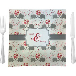 """Elephants in Love Glass Square Lunch / Dinner Plate 9.5"""" - Single or Set of 4 (Personalized)"""