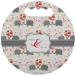 Elephants in Love Stadium Cushion (Round) (Personalized)