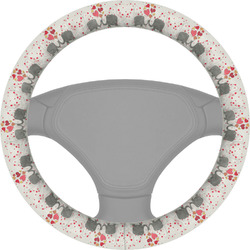 Elephants in Love Steering Wheel Cover (Personalized)