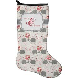 Elephants in Love Christmas Stocking - Neoprene (Personalized)