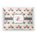 Elephants in Love Rectangular Throw Pillow Case (Personalized)